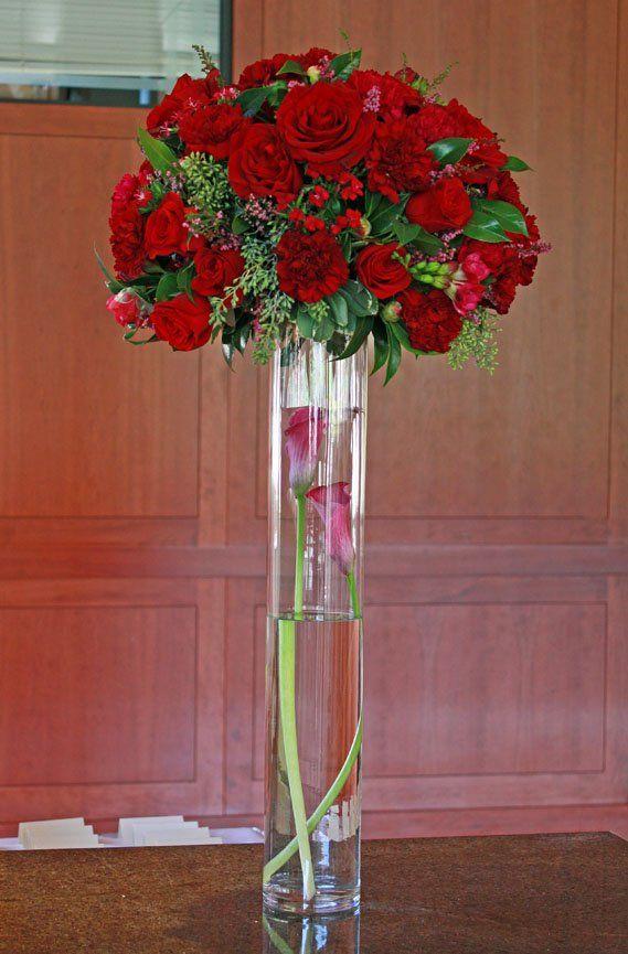 Tall red wedding centerpiece redwedding weddingflowers