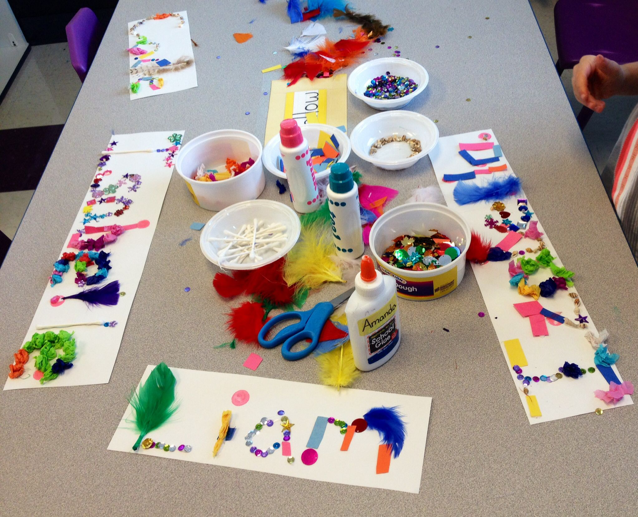 Preschool Art Projects Learning To Spell Their Name Various Collage Materials