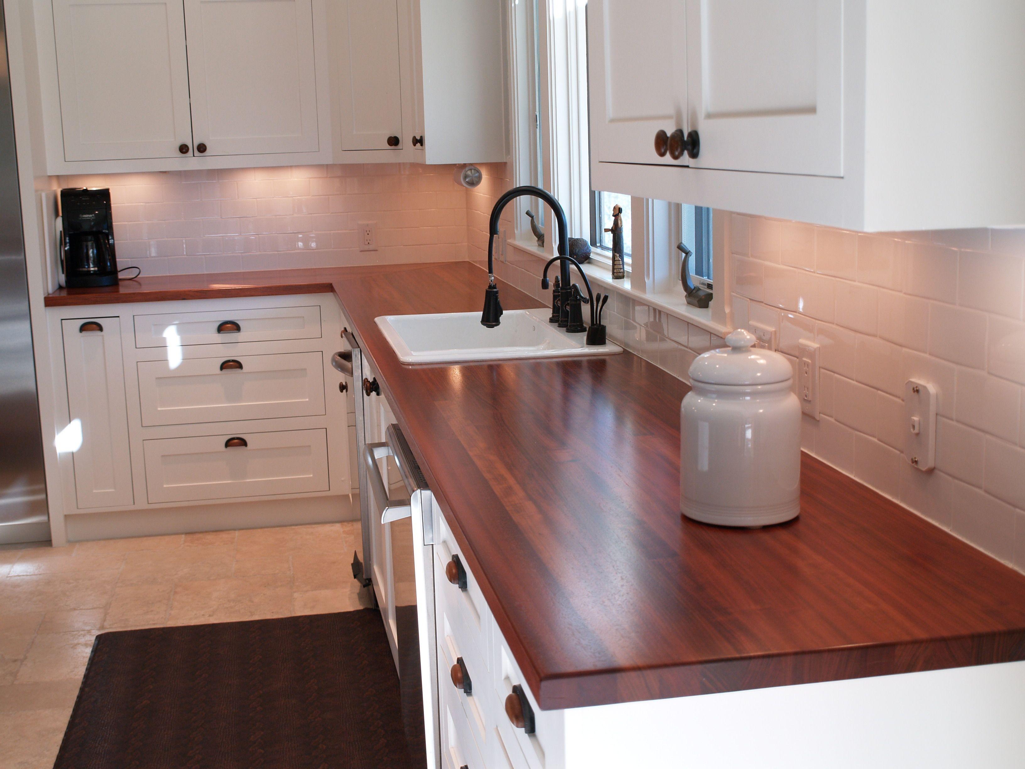 Custom Solid Wood Edge Grain Jatoba Counter Tops With Top Mount