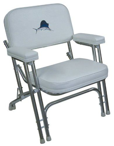 Garelick 48106 Mariner Folding Deck Chair W// Sewn Cushions