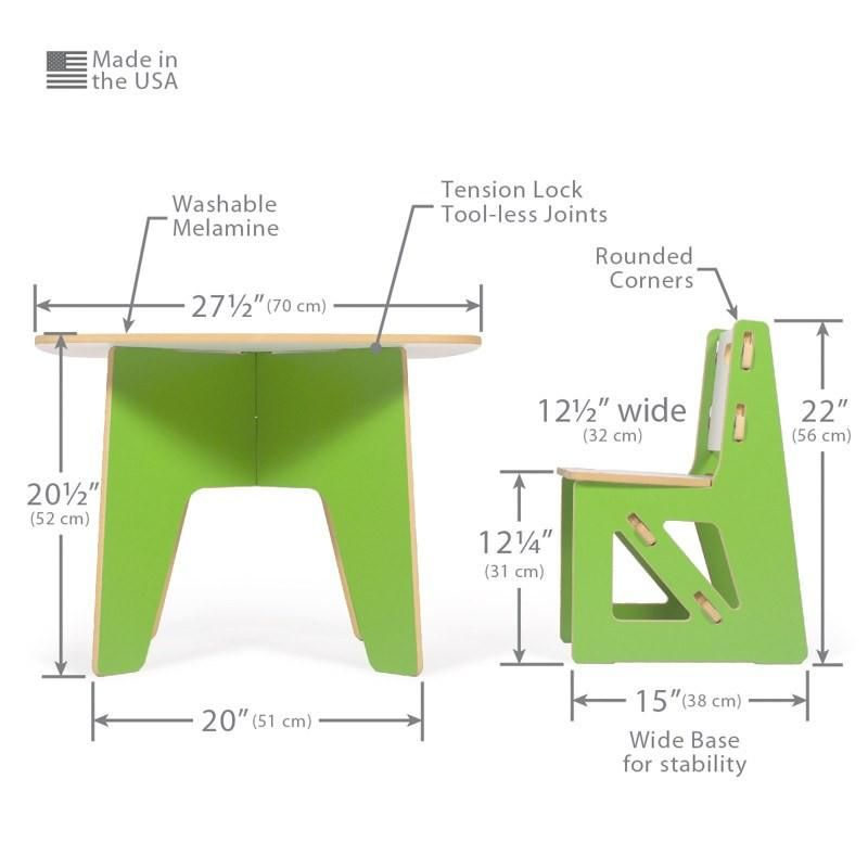 Dimensions for Modern Kids Table and Chair Set | Industrial Design