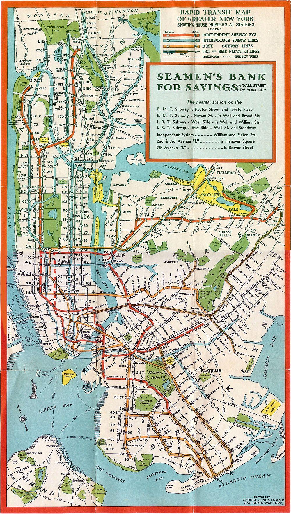 New York City Subway Map 1960s.New York City Subway Map Circa 1960 Ellie Stone S 1960s New York