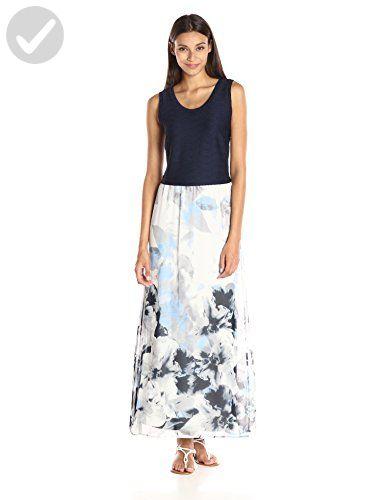 e42d016caa5 Calvin Klein Women s Maxi Dress with Chiffon Bottom