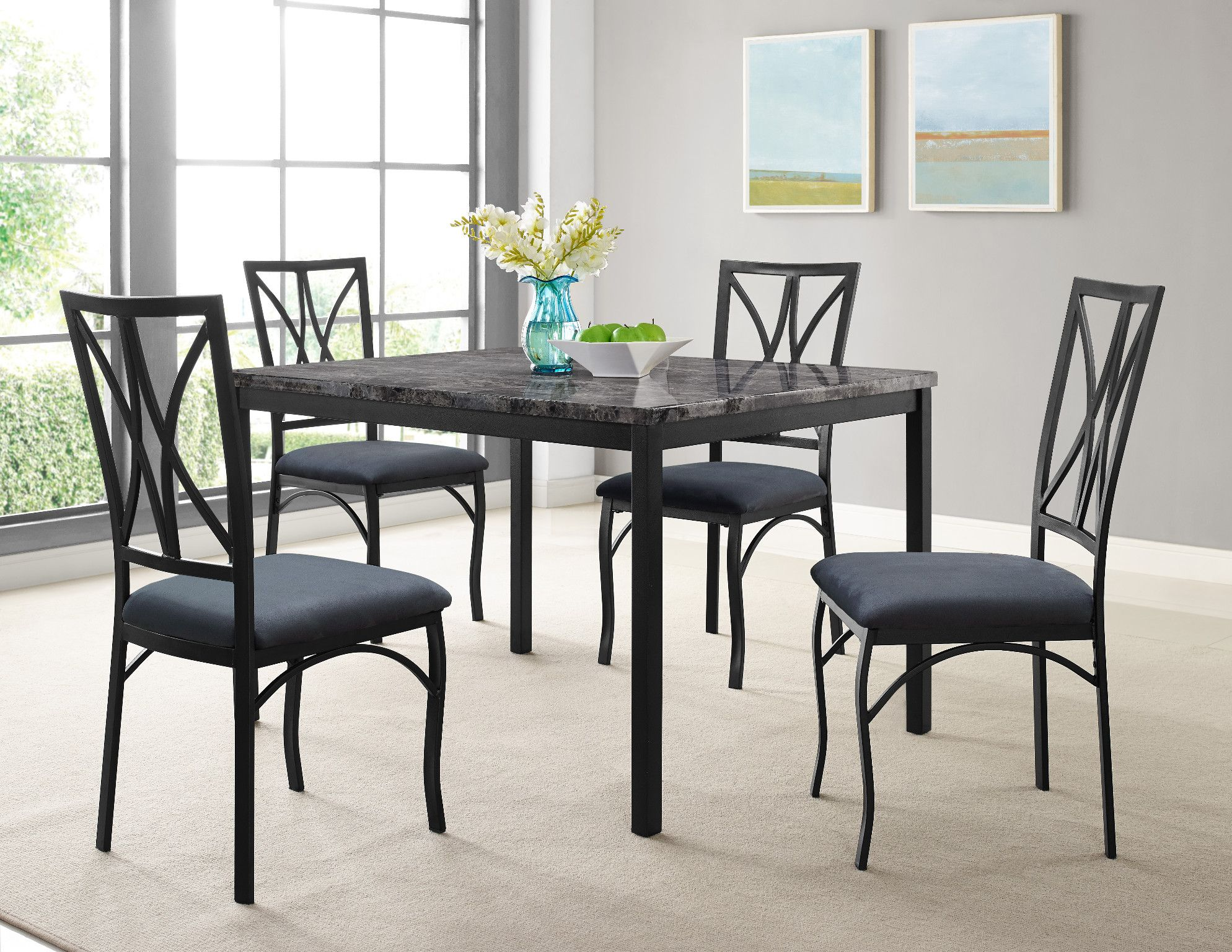 Zeus Faux Marble Top Table And 4 Chairs Rectangular Faux Marble Dining Set With Metal Legs And Chairs This 5 P Furniture Trending Decor Home Decor Trends