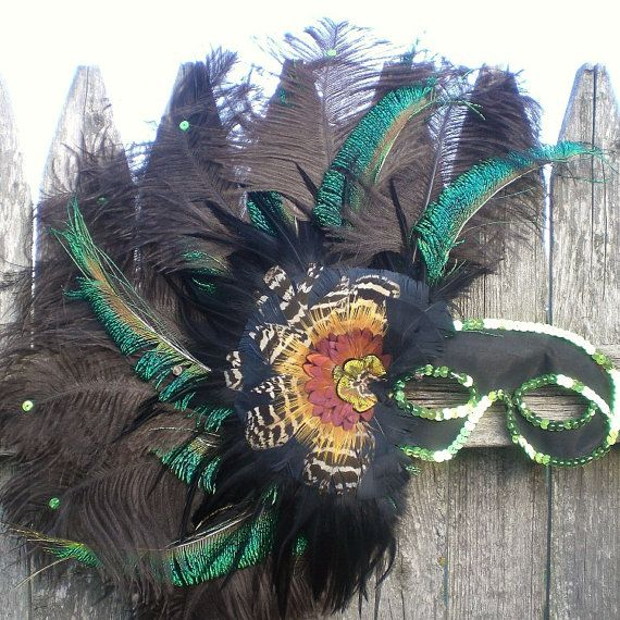New in my vintage Etsy shop:  Retro 1980s Feathered Masquerade Carnival Mardi by BadCatBoutique, $25.00