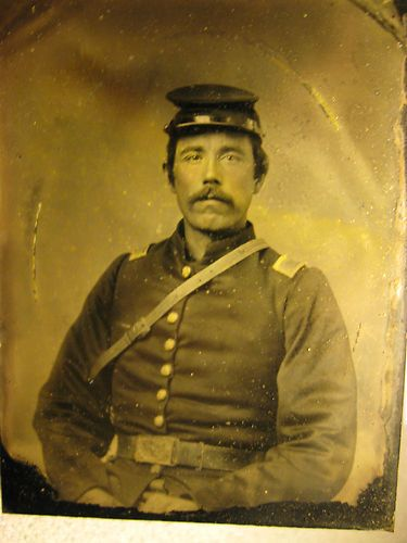 Civil War Soldier Officer Tintype Seated 1 4 Plate Size Encased Nice | eBay
