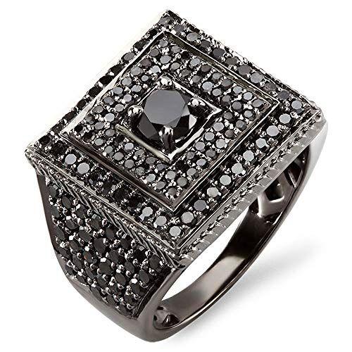 9c10dce43260 Anillo redondo para hombre de diamante negro 2.80 quilates
