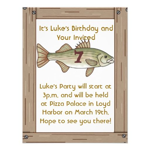 Fishing 7th Birthday Party Boys Invitation