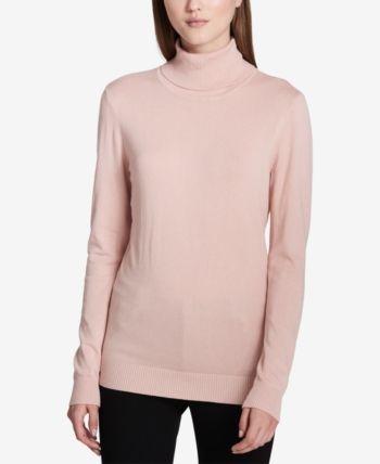 Calvin Klein Solid Turtleneck Sweater Pink XL | Turtleneck