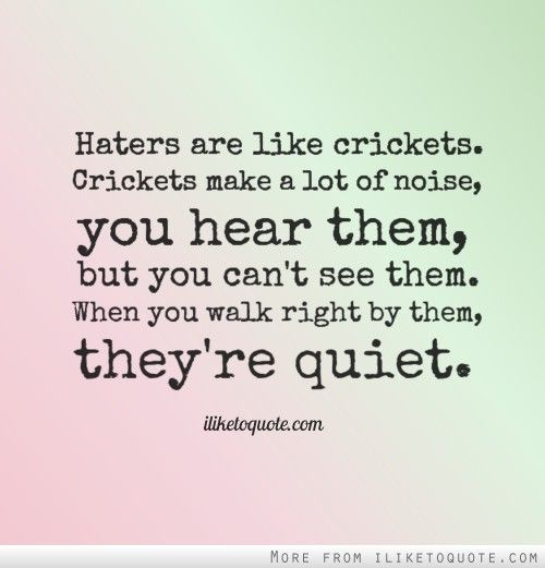 Haters Are Like Crickets Crickets Make A Lot Of Noise You Hear Them But You Can T See Them When You Walk Right B Haters Be Like Trash Quotes Word Of Advice