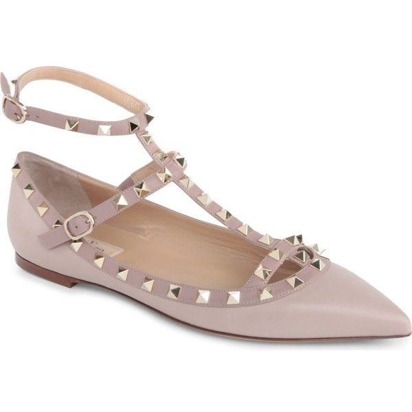 90a9c2e5553e VALENTINO Rockstud leather pointed toe flats ( 760) ❤ liked on Polyvore  featuring shoes