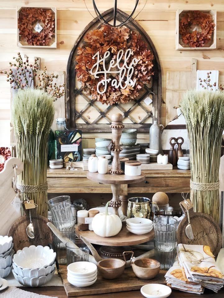 Fall store display at vintage barn chicks