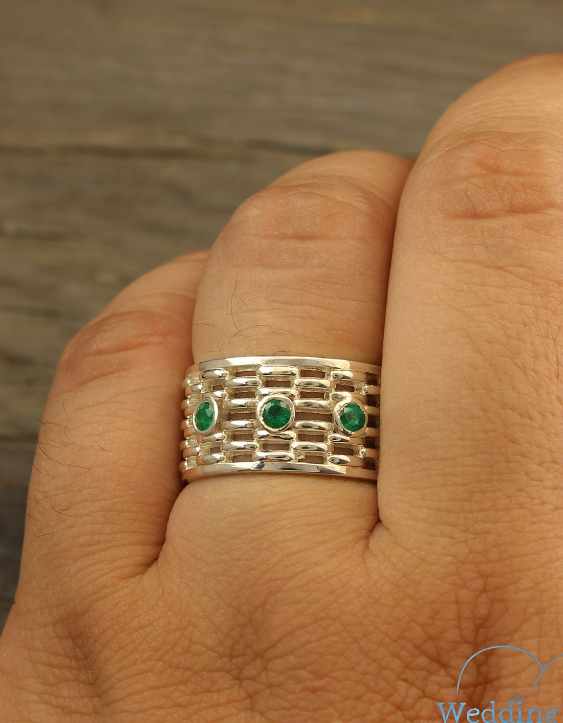 Exclusive Bold Man S Wide Wedding Band With Emeralds In Etsy Unusual Wedding Rings Silver Wedding Bands Wedding Rings For Women
