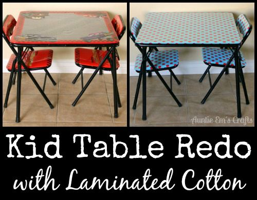 Kid Table Redo With Laminated Cotton Auntie Em S Crafts Kids Table Redo Kid Table Card Table Makeover