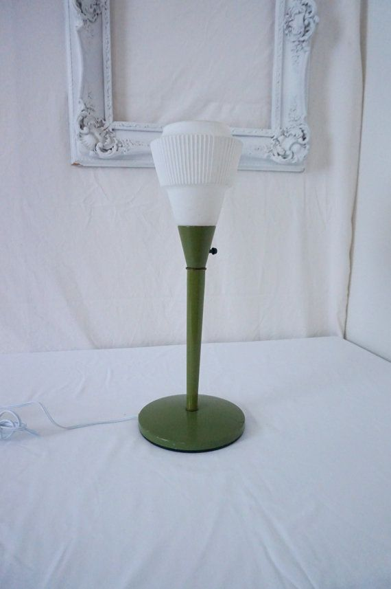 Vintage 70s Table Lamp Avocado Green With Frosted Glass Shade