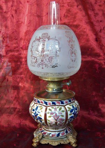 Antique Oil Lamp Fischer Zsolnay Budapest Palmer Co Burner Med Bilder Belysning