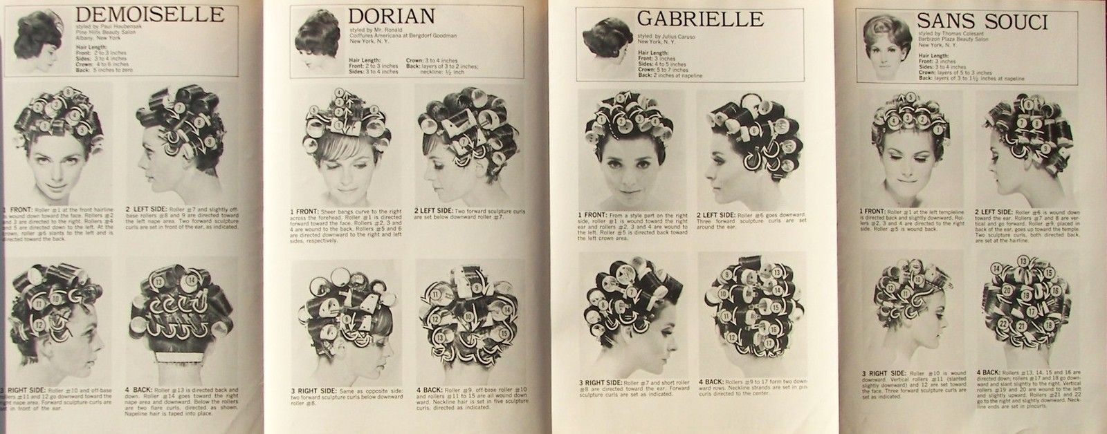 various roller setting patterns. | hair roller setting