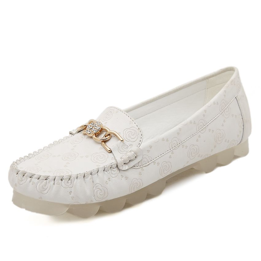 Spring and Autumn Women Shoes Doug Leather Dichotomanthes Mother Pregnant Women Casual Nurse White Shoes