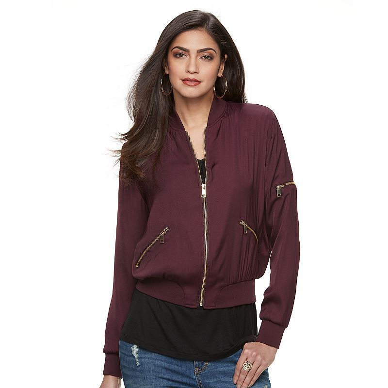 Women's Jennifer Lopez Luxe Essentials Bomber Jacket, Size: Medium, Drk Purple
