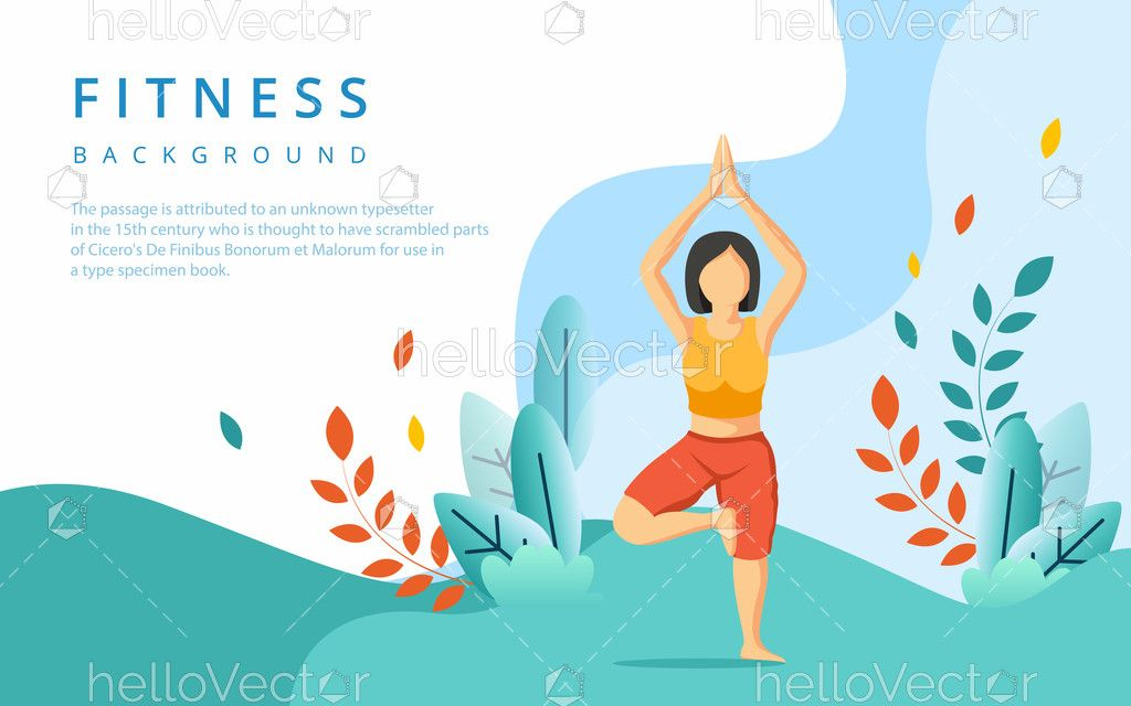 Yoga Banner Background Health And Fitness Concept Download Graphics Vectors In 2020 How To Do Yoga Health Fitness Fitness Backgrounds