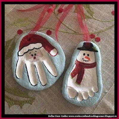 Santa Hand Print And Snowman Foot Print Salt Dough Ornaments