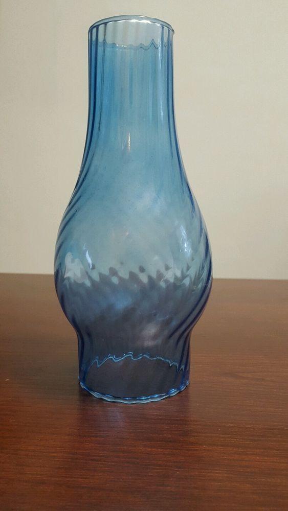 Swirled Glass Blue Oil Lamp Chimney 3 Fitter 8 1 2 Tall Vintage Art Glass Vintage Art Glass Oil Lamps Glass Art