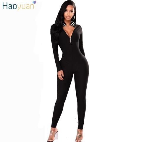 5eb112ae77 HAOYUAN Deep-V Long Sleeve Sexy Jumpsuit 2018 New Skinny Bodycon One Piece  Long Pants Bodysuit Overalls Rompers Womens Jumpsuit