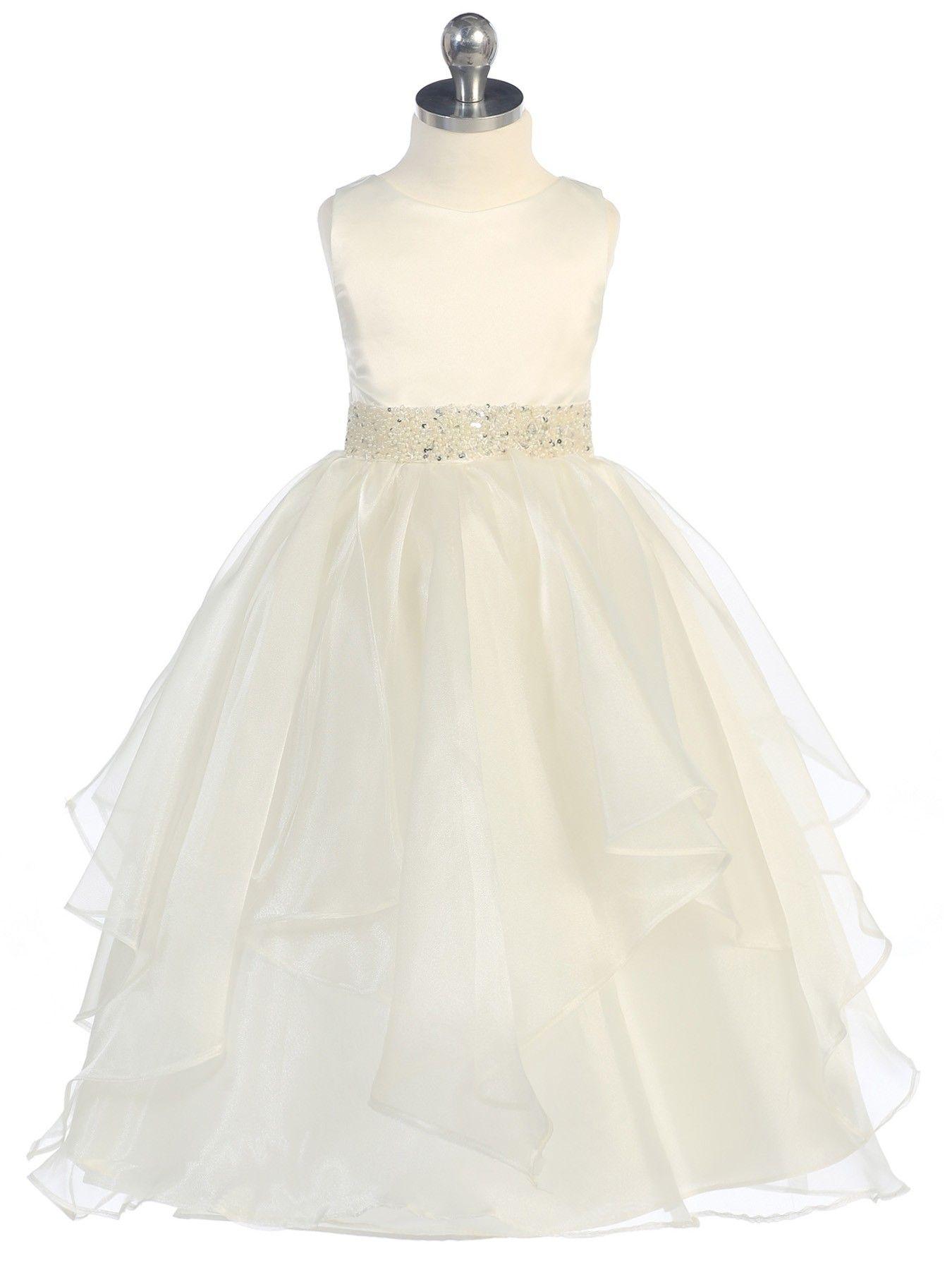 56bec9867bda Ivory Asymmetric Ruffles Satin Organza Flower Girl Dress (Sizes ...