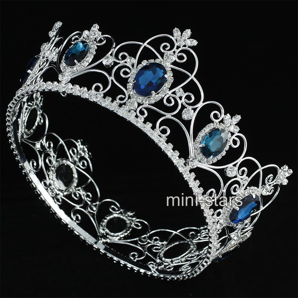 """Queen Princess 3.5/"""" Full Circle Tiara Simulated Blue Sapphire Crown Pageant Prom"""