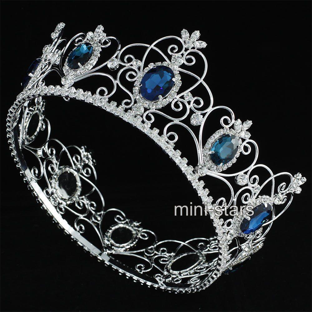 Crowns full circle round tiaras rhinestones crystal wedding bridal - Pageant 3 5 Full Circle Tiara Simulated Blue Sapphire Crown For Women At1740