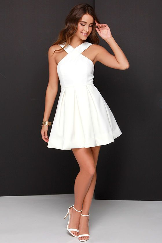 49dc057929a33d Pleats in a Pod Ivory Skater Dress | Dress | Dresses, Lace prom gown ...