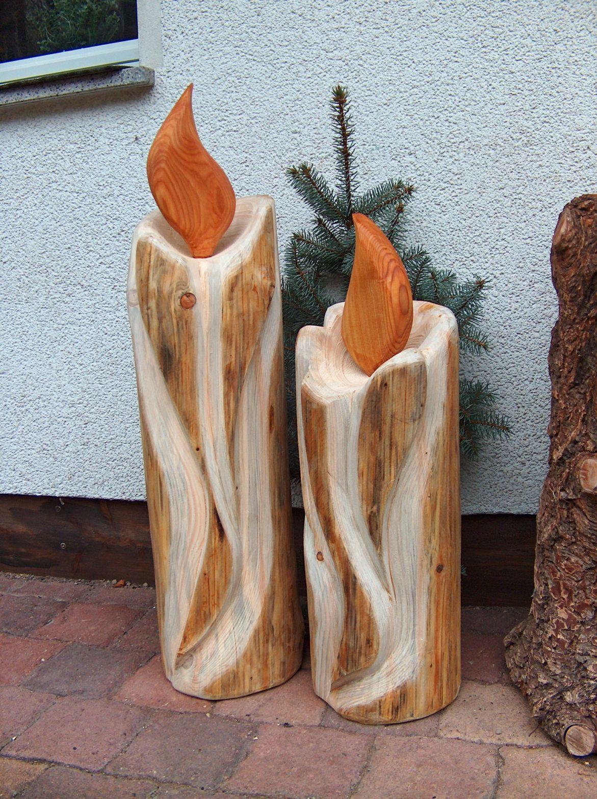 Holzkerzen #weihnachtsdekohauseingangaussen