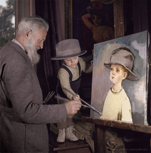 """painters-in-color:  """"Kees Van Dongen painting with his son Jean-Marie, 1944.  """""""