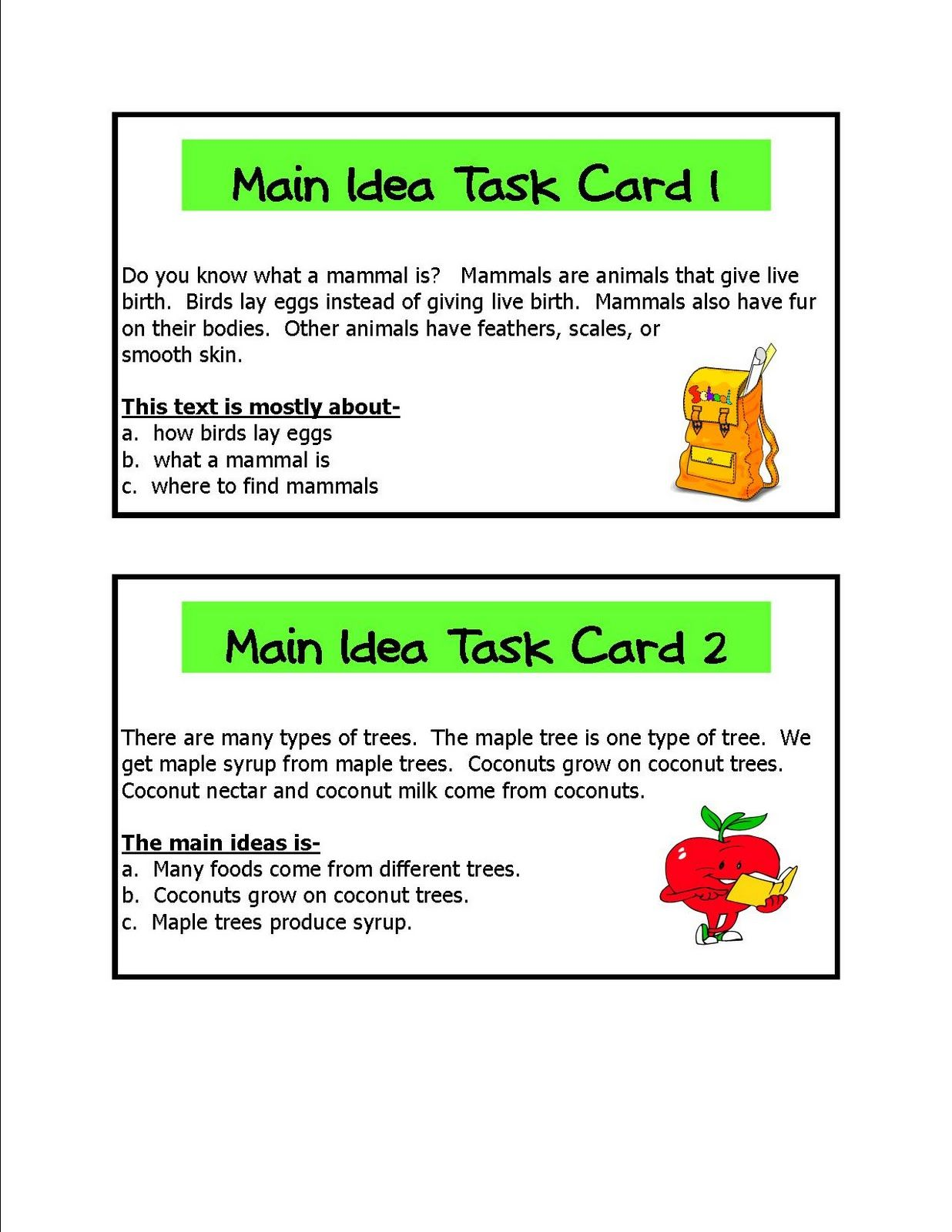 Main Idea Learning Centers With Images