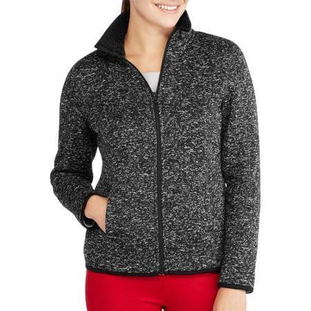 Faded Glory Women's Mockneck Sweater Fleece Jacket With Cozy Sherpa Lining - Walmart.com
