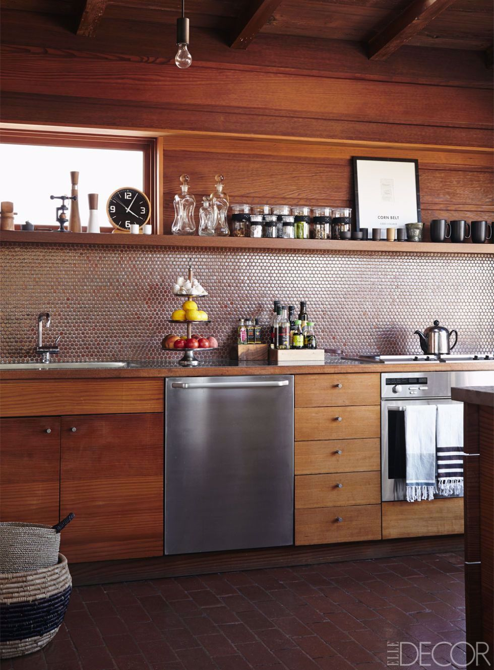 The Kitchen Features Custom Redwood Cabinetry A Backsplash Of Penny Tiles By Mission Tiles An Oven And Dishwas In 2020 Kitchen Interior Modern Kitchen Rustic Kitchen