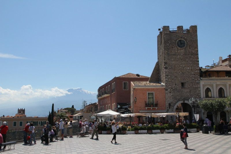 Piazza Aprile clock tower Mount Etna - See more at: http://chambersarchitects.com/blog/248-taormina-sicily-refuge-for-ancients-artists-and-writers.html#sthash.V6tcTDnP.dpuf And read all of our blogs at: http://chambersarchitects.com/blog.html