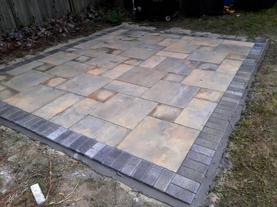 Nantucket Pavers Patio On A Pallet 12 In X 24 In And 24 In X 24 In Tan Variegated Basketweave Yorkstone Concrete Paver Pallet Of 18 30534 The Home Depot Diy Stone Patio Patio