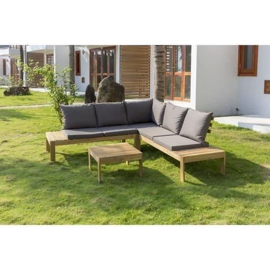 Salon de jardin - 1 table basse avec 1 canapé d\'angle - En bois d ...