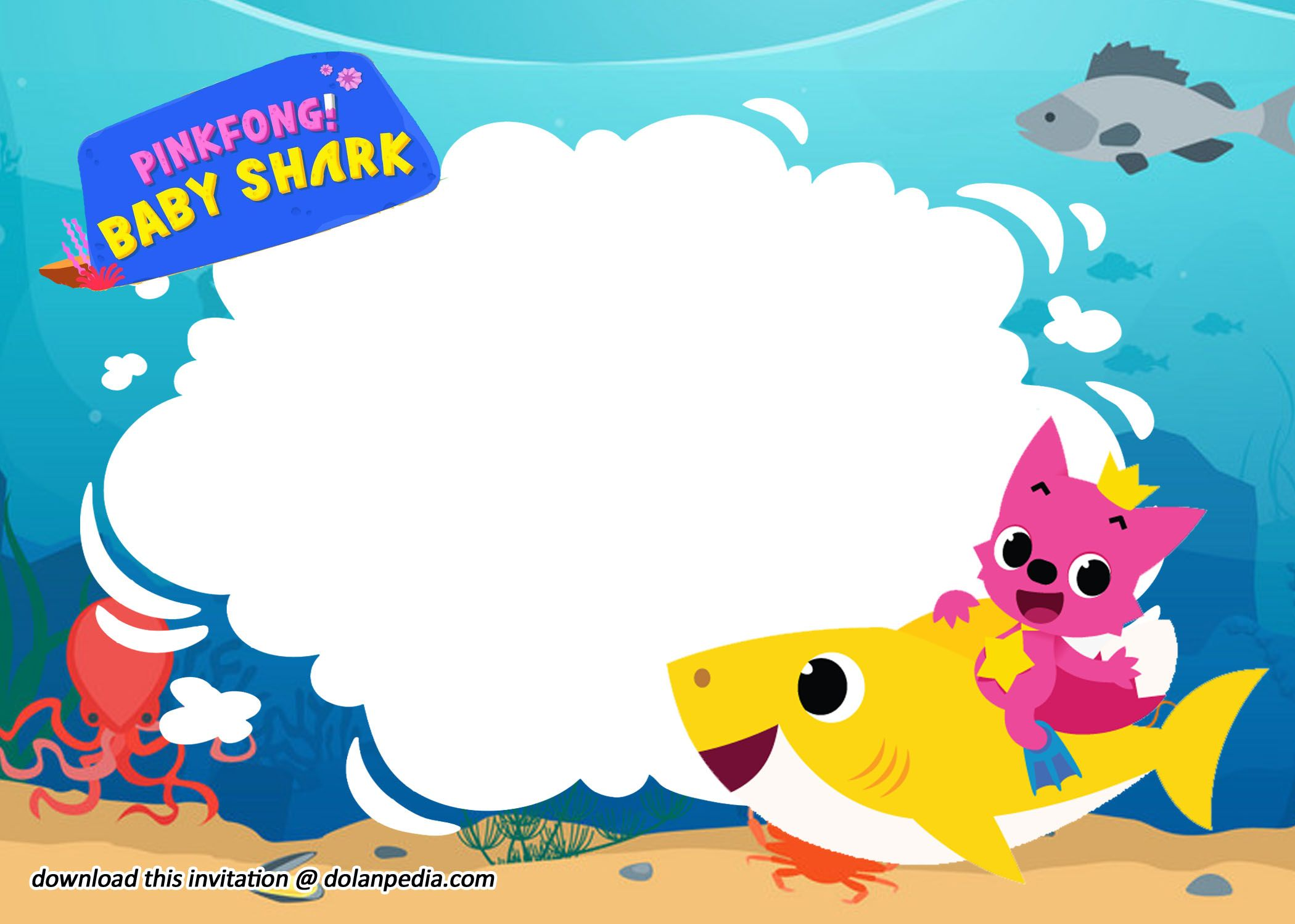 (Free Printable) Baby Shark Invitation Birthday Templates ...