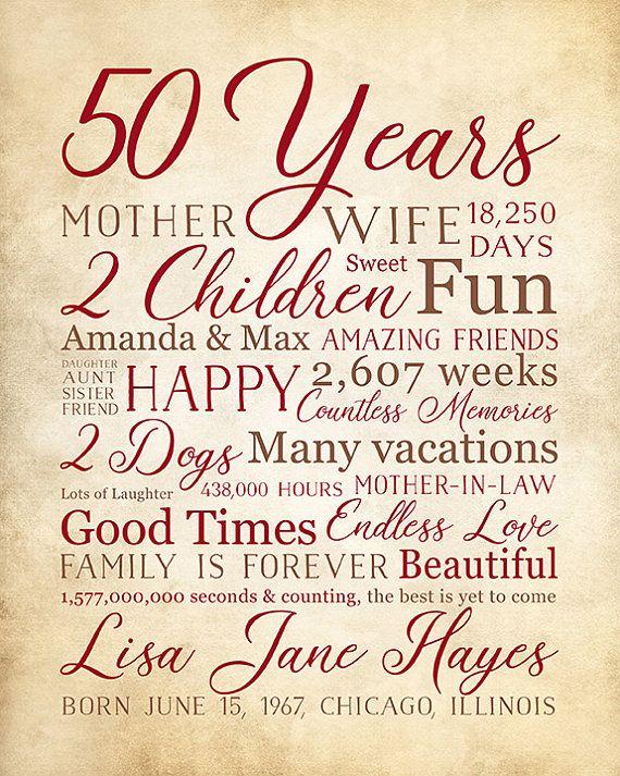 Birthday Gift for 50th Birthday, Mom Bday Gift, 50 Years ...