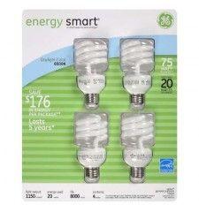 GE energy smart CFL 20 Watt Spiral Daylight Bulbs - 4 pk.
