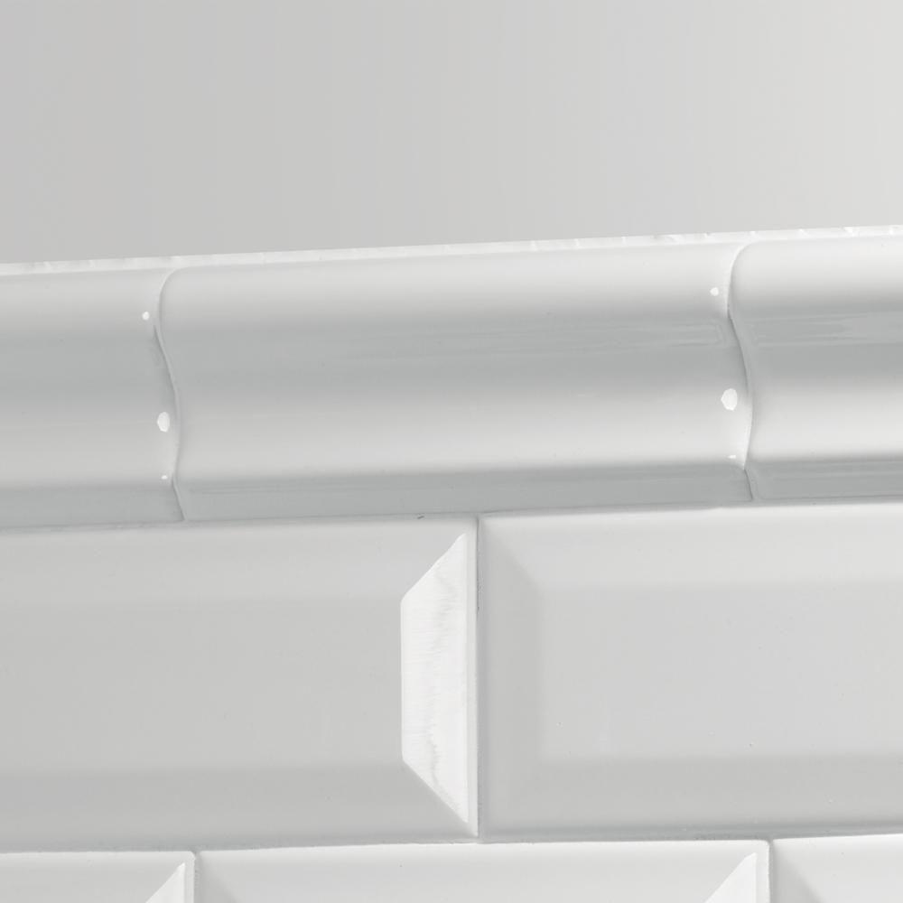 Daltile finesse bright white 2 in x 6 in ceramic chair rail trim daltile finesse bright white 2 in x 6 in ceramic chair rail trim tile dailygadgetfo Gallery