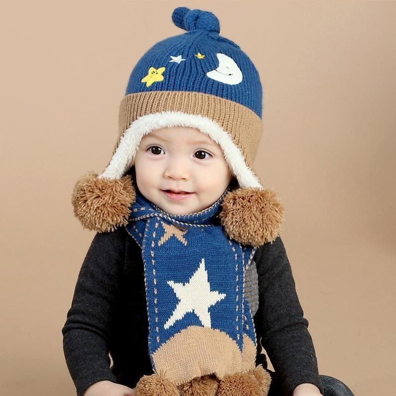 Christmas Gift Boy Girl Hat and Scarf Set Children Cap Baby Girls Winter  Fashion Kids Hats Boys Star Hat 2 Pieces Set 7ed31535b2e2
