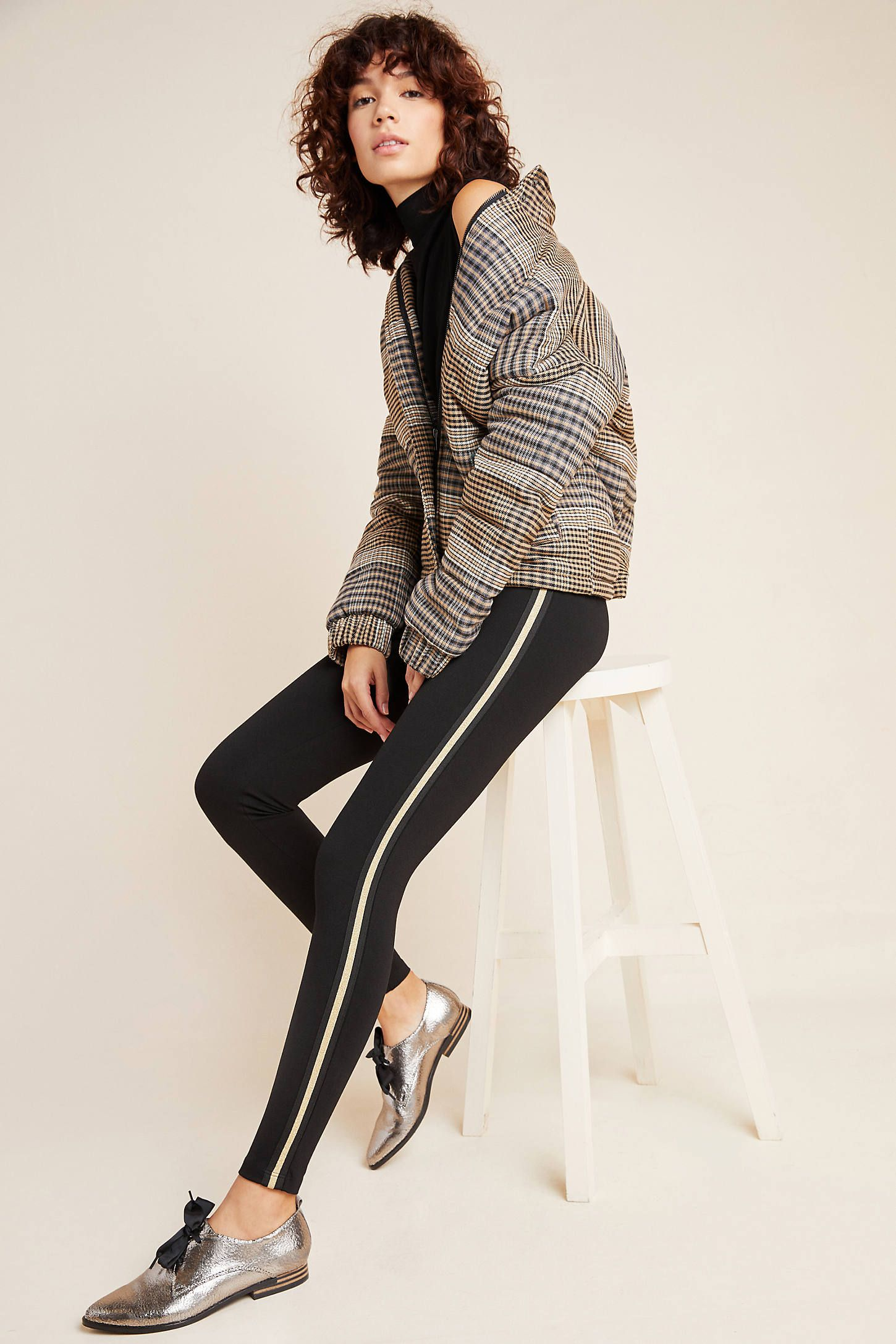 Raquel Side Stripe Leggings by Velvet Graham & Spencer in Black Size: L, Women's at Anthropologie #stripedleggings