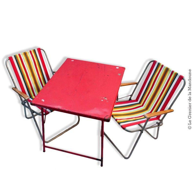 Table pliante en métal couleur rouge, camping vintage Table de