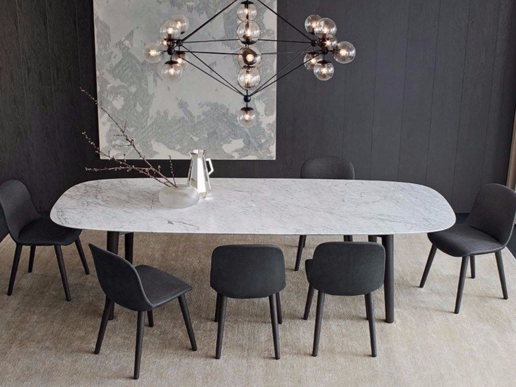 Rectangular Marble Table Mad Dining Table Mad Collection By Poliform Design Marc Dining Table Marble Dining Room Design Modern Modern Dining Rooms Contemporary