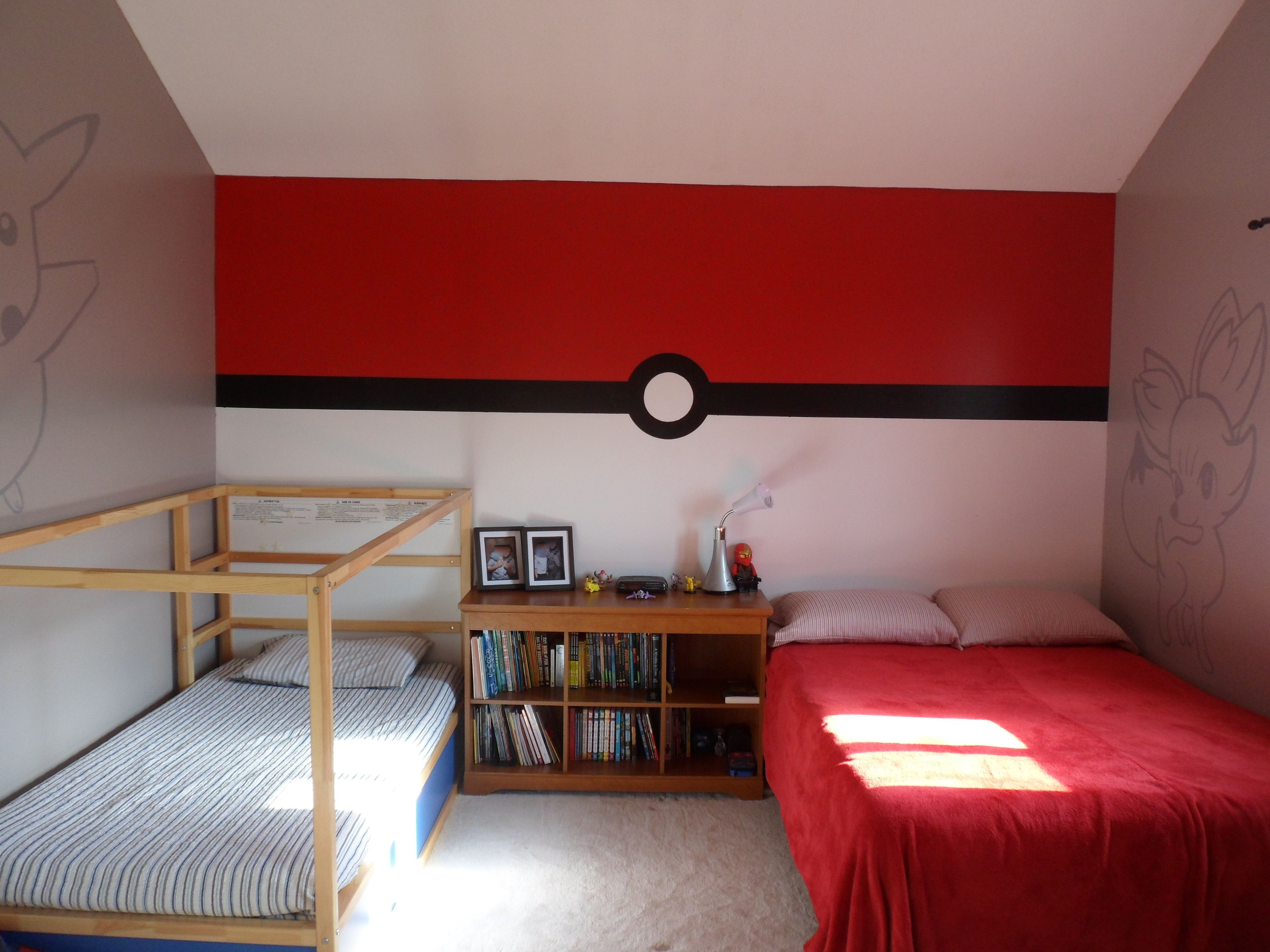 Pokemon Bedroom - Pokeball wall | Shared Bedrooms | Pinterest ...