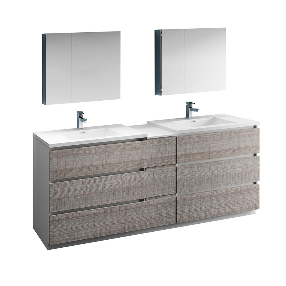 Fresca Lazzaro 84 In Modern Double Bathroom Vanity In Glossy Ash