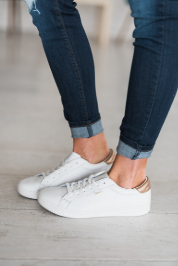 Ace Leather Sneakers - Metallic Rose Gold Keds | women's